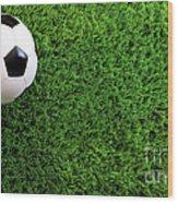 Soccer Ball On Green Grass Wood Print