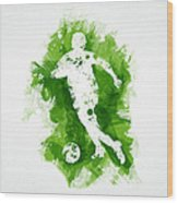 Soccer Player Wood Print by Aged Pixel