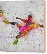 Soccer Player - Flying Kick Wood Print