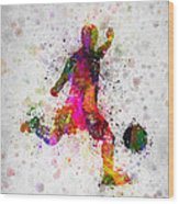 Soccer Player - Kicking Ball Wood Print
