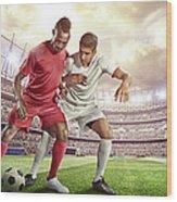 Soccer Player Tackling Ball In Stadium Wood Print