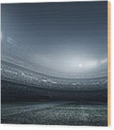 Soccer Player With Ball In Stadium Wood Print