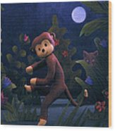 Sock Monkey In The Wild Wood Print