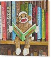 Sock Monkey Reading A Book Wood Print