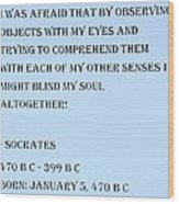 Socrates Quote In Cyan Wood Print