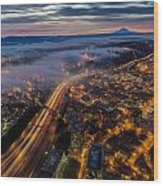 Sodo Sunrise Seattle Morning Wood Print