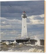 Sodus Outer Lighthouse On Stormy Lake Wood Print