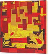 Soft Geometrics Abstract In Red And Yellow Impression I Wood Print