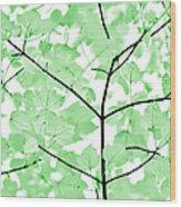 Soft Green Leaves Melody Wood Print