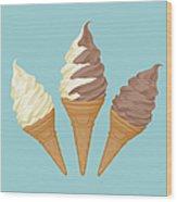 Soft Ice Cream Cone Wood Print