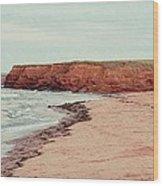 Soft Rain On The Beach Wood Print