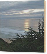 Soft Silvery Pacific Sunset Wood Print