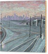 Soft Sunset Over San Francisco And Oakland Train Tracks Wood Print