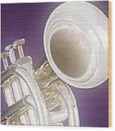 Soft Trumpet On Purple Wood Print