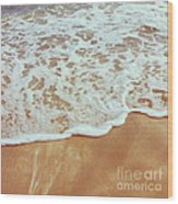 Soft Wave Of The Sea On The Sandy Beach Wood Print