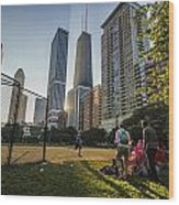 Softball By Skyscrapers Wood Print