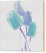 Softness Of  Blue And Teal Tulip Flowers Wood Print