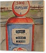 Sohio Gasoline Pump Wood Print