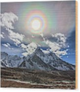 Solar Corona Above The Ama Dablam Wood Print