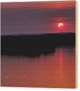 Solar Eclipse Sunset Wood Print