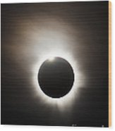 Solar Eclipse With Diamond Ring Effect Wood Print