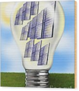 Solar Power Lightbulb Wood Print