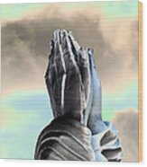 Solar Praying Hands Wood Print