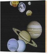 Solar System Montage Wood Print by Movie Poster Prints