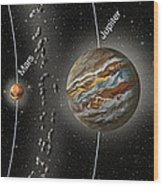 Solar System Orbits, Illustration Wood Print