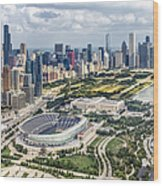 Soldier Field And Chicago Skyline Wood Print