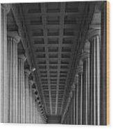 Soldier Field Colonnade Chicago B W B W Wood Print