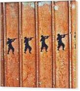 Soldier Graffiti Wood Print