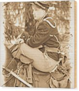 Soldier On Horse Wood Print