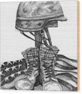 Soldiers Cross Remember The Fallen Wood Print by J Ferwerda