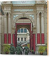 Soldiers In The Outer Court Of Grand Palace Of Thailand In Bangkok Wood Print