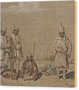Soldiers Relaxing, 1844 Wc & Gouache On Paper Wood Print