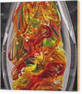 Solid Glass Sculpture - 13e8 - Extreme Flames Wood Print