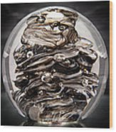 Solid Glass Sculpture 13r9 Black And White Wood Print