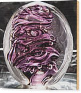 Solid Glass Sculpture Rp5 - Purple And White Wood Print