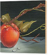 Solitary Apples Wood Print