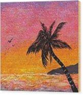 Solitary Palm Sunset Wood Print