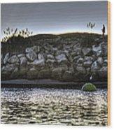 Solo At The Harbor At Dusk 2 Wood Print