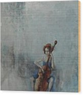 Solo Celloist Wood Print