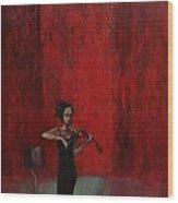 Solo Violinist Wood Print
