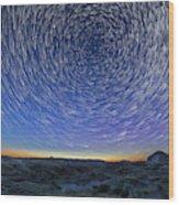 Solstice Star Trails At Dinosaur Park Wood Print