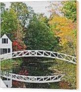 Somesville Bridge In Autumn Wood Print by Lena Hatch