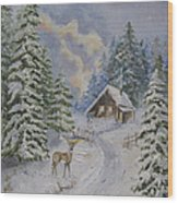 Somewhere In The Snowy Forest Wood Print