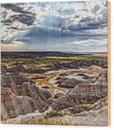 Son Over The Badlands Wood Print