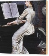 Song Without Words, Piano Player, 1880 Wood Print