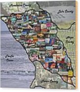 Sonoma County Collage Wood Print